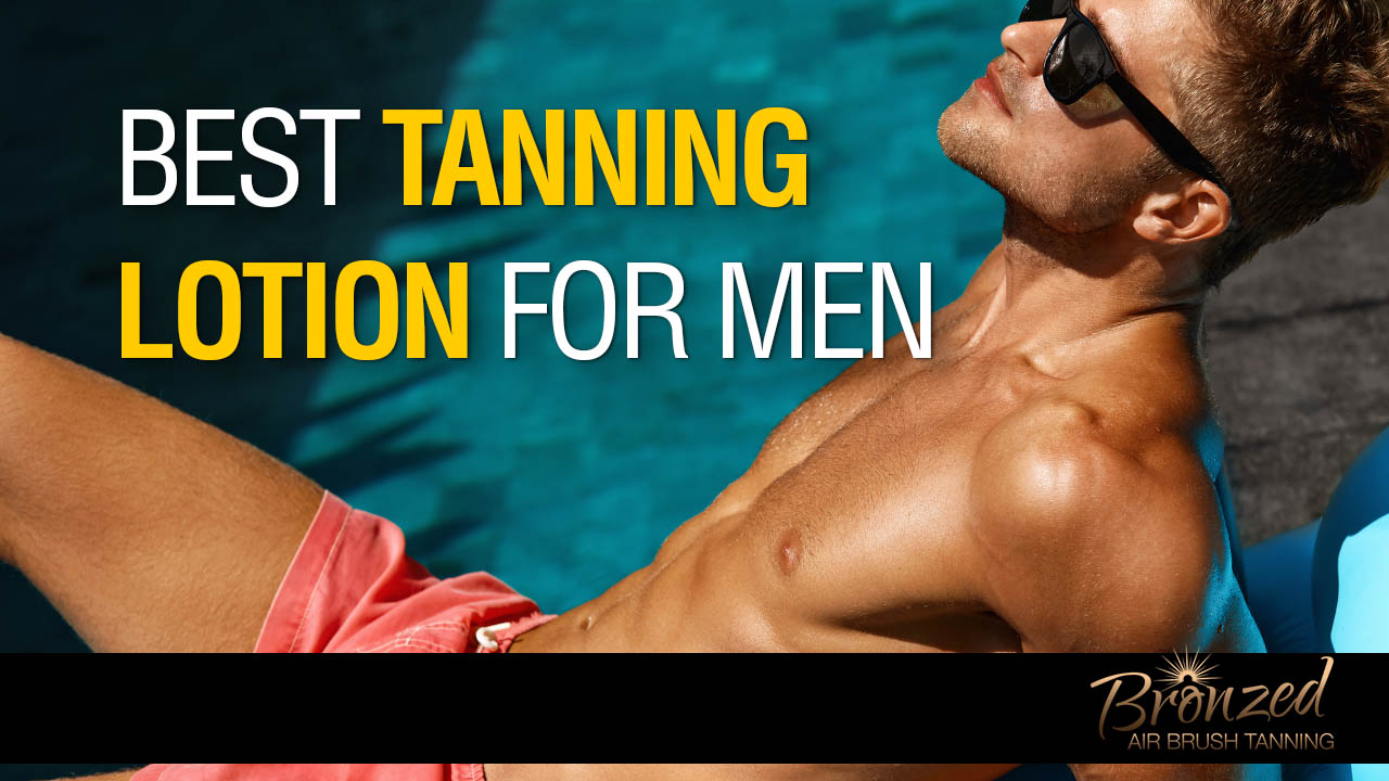man using tanning oil