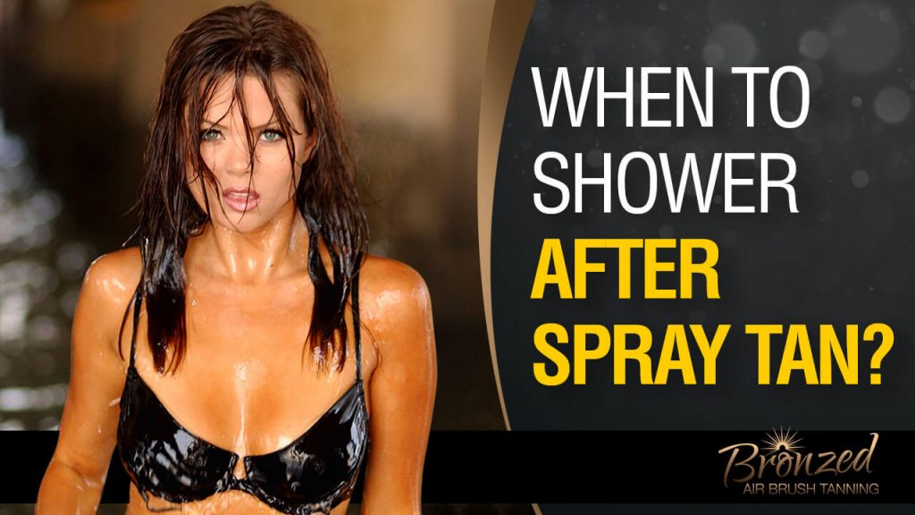 girl with spray tan in shower